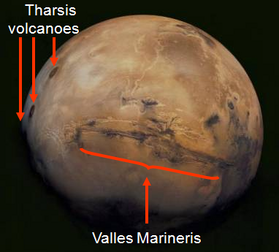 Mars, with Valles Marineris & Tharsis rise