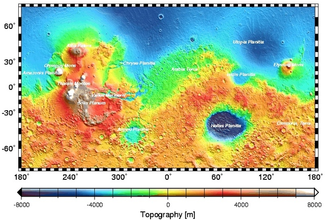 Global topographic map of Mars by MOLA with major surface features labeled.